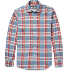 Freemans Sporting Club Slim-Fit Cutaway-Collar Plaid Cotton-Flannel Shirt