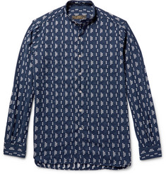 Freemans Sporting Club Grandad-Collar Cotton-Jacquard Shirt