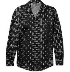 Dolce & Gabbana Camp-Collar Horseshoe-Print Silk-Twill Shirt