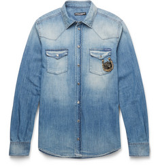 Dolce & Gabbana Slim-Fit Appliquéd Washed-Denim Western Shirt