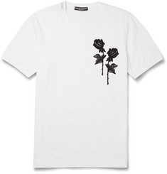 Dolce & Gabbana - Embroidered Cotton-Jersey T-Shirt
