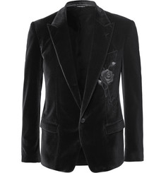 Dolce & Gabbana Grey Embroidered Stretch-Velvet Blazer