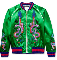 Gucci Appliquéd Silk-Satin Bomber Jacket