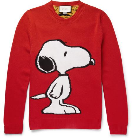 gucci male gucci intarsia wool sweater red