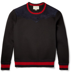 Gucci Studded Suede-Panelled Bonded Cotton-Jersey Sweatshirt