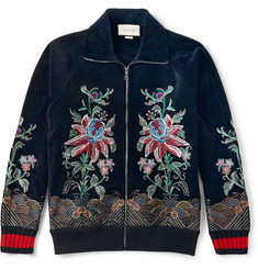 Gucci - Slim-Fit Embroidered Cotton-Blend Velvet Zip-Up Sweatshirt
