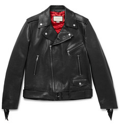 Gucci Patch-Embellished Fringed Leather Biker Jacket