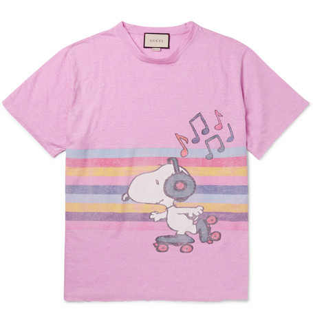 gucci male 243279 gucci oversized printed melange linen tshirt pink