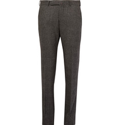 Ermenegildo Zegna Grey Slim-Fit Checked Stretch-Wool Trousers