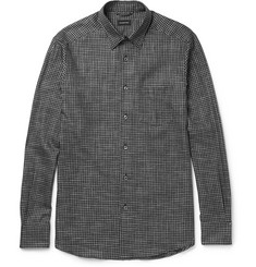 Ermenegildo Zegna Button-Down Collar Checked Brushed-Cotton Shirt
