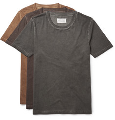 Maison Margiela Three-Pack Distressed Cotton-Jersey T-Shirts