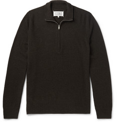 Maison Margiela Leather Elbow-Patch Wool Half-Zip Sweater