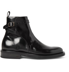 AMI Polished-Leather Jodhpur Boots