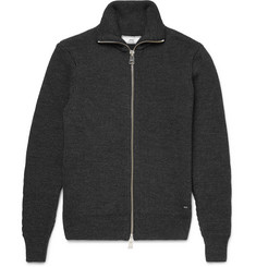 AMI Ribbed Wool Zip-Up Sweater