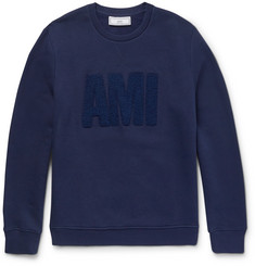 AMI - Embroidered Fleece-Back Cotton-Jersey Sweatshirt