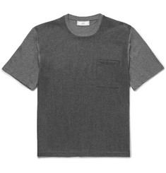 AMI Cotton Jersey-Panelled Wool T-Shirt