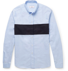 AMI Slim-Fit Button-Down Collar Contrast-Panelled Cotton Oxford Shirt