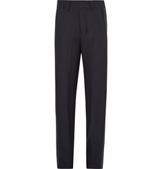 AMI Wide-Leg Satin-Trimmed Wool-Twill Trousers