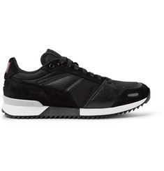 AMI Panelled Leather, Suede and Mesh Sneakers