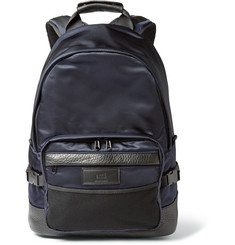AMI Leather-Trimmed Nylon Backpack