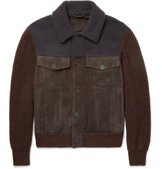 Bottega Veneta Shearling-Trimmed Suede and Wool Bomber Jacket