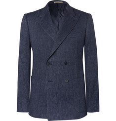 Bottega Veneta Navy Slim-Fit Double-Breasted Woven Blazer