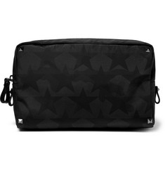 Valentino - Leather-Trimmed  Star-Print Shell Wash Bag