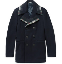 Bottega Veneta Check-Trimmed Wool and Cashmere-Blend Peacoat