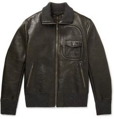 Bottega Veneta Waxed-Leather Bomber Jacket