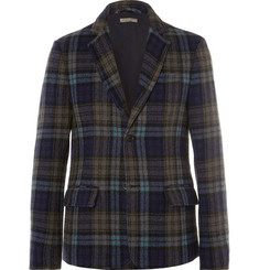 Bottega Veneta Blue Checked Wool Blazer