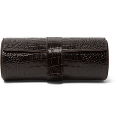 Smythson Mara Croc-Effect Leather Watch Roll