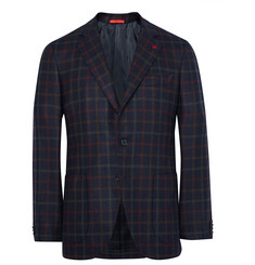 Isaia - Blue Slim-Fit Checked Wool and Cashmere-Blend Blazer