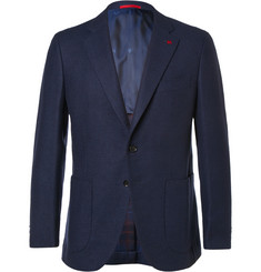 Isaia Blue Slim-Fit Wool-Blend Blazer