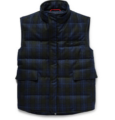 Isaia Water-Resistant Checked Wool Down Gilet