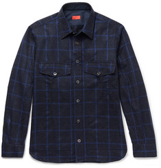 Isaia Checked Wool and Cashmere-Blend Shirt