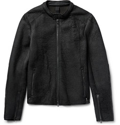Isabel Benenato Wool Blend-Panelled Textured-Leather Jacket