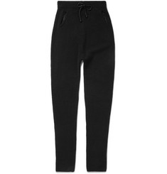 Isabel Benenato Slim-Fit Tapered Leather-Panelled Wool-Blend Trousers