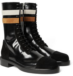 Raf Simons - Suede-Trimmed Patent-Leather Boots