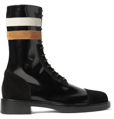 Raf Simons Suede-Trimmed Patent-Leather Boots