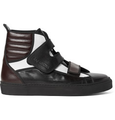 Raf Simons Colour-Block Leather High-Top Sneakers