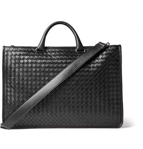 bottega veneta male 188971 bottega veneta intrecciato leather briefcase black