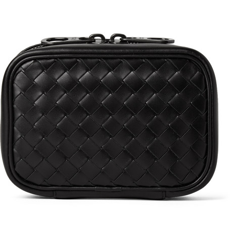 bottega veneta male bottega veneta intrecciato leather cufflinks case black