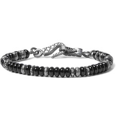 Bottega Veneta Onyx And Silver Bead Bracelet