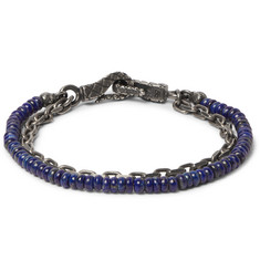 Bottega Veneta Lapis Bead and Oxidised Silver Chain Bracelet