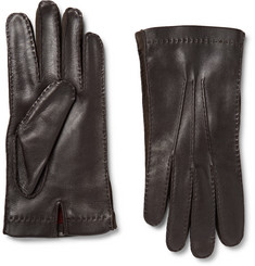 Loro Piana Suede-Trimmed Leather Gloves