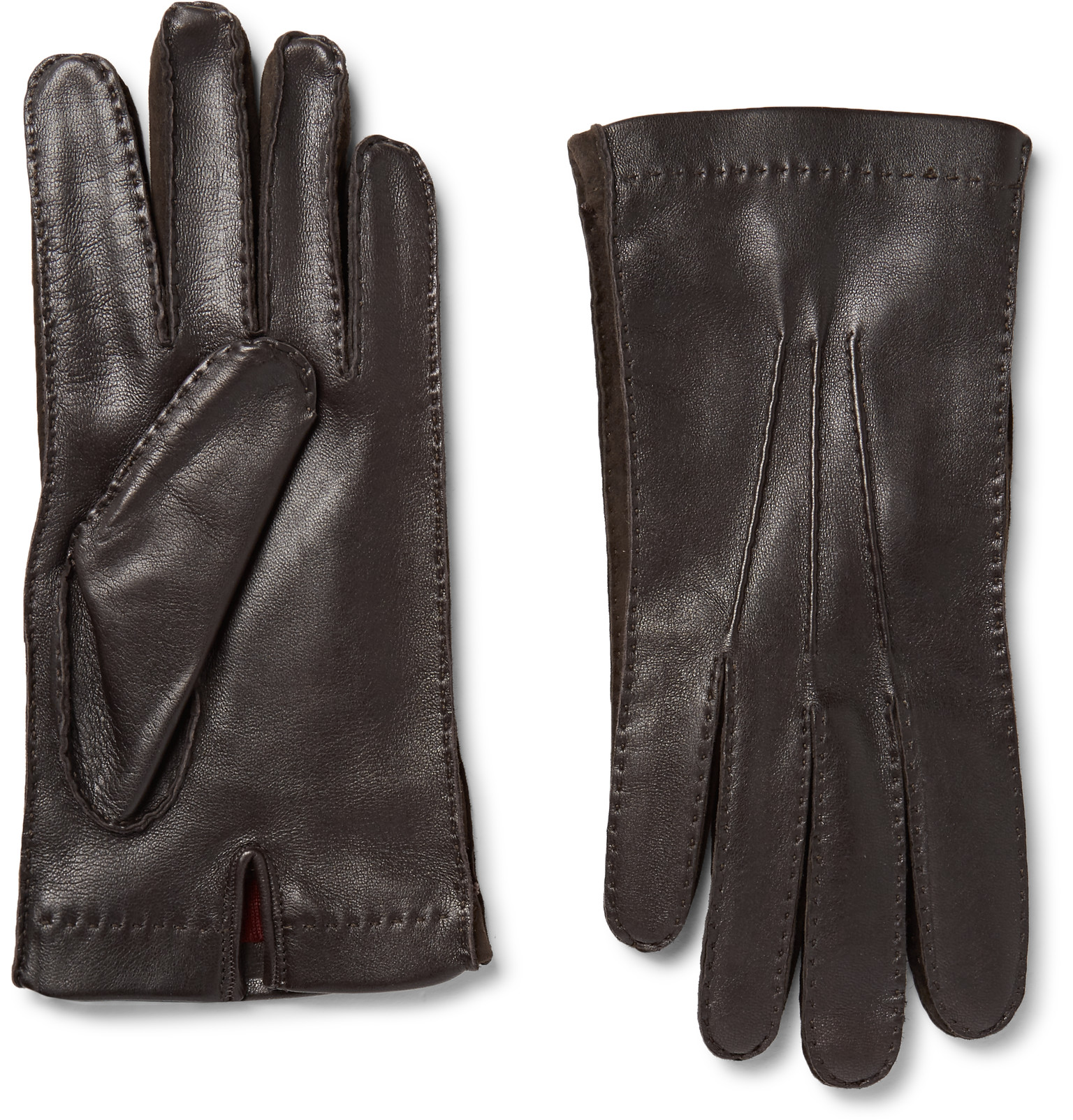 Xxl black leather gloves - Loro Pianasuede Trimmed Leather Gloves