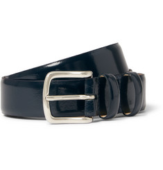 A.P.C. 3cm Blue Jeremy Polished-Leather Belt