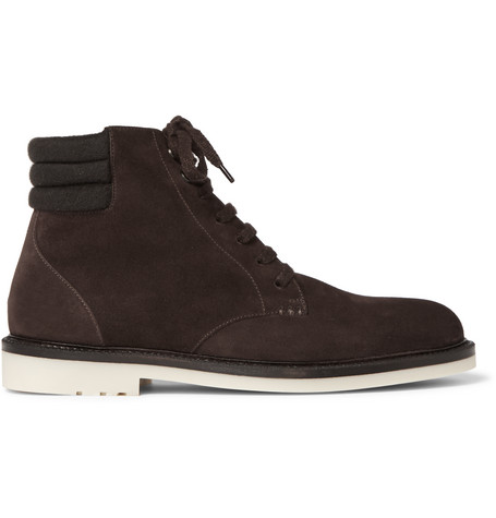 Loro Piana Icer Walk Cashmere-trimmed Suede Boots In Chocolate