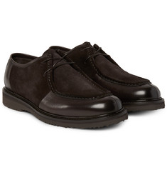 Ermenegildo Zegna - Leather-Panelled Suede Derby Shoes