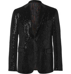 Etro Black Sequinned Velvet Tuxedo Jacket